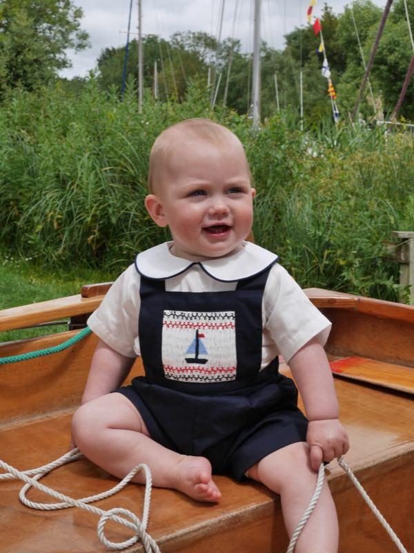 rachel riley水手領襯衫+帆船圖案連身褲開幕價NT6500